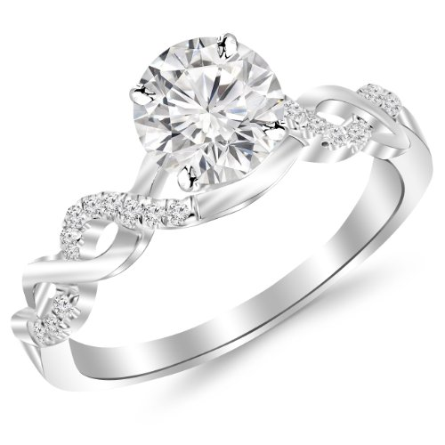 0.63 Carat Twisting Infinity Gold and Diamond Split Shank Pave Set Diamond Engagement Ring 14K White Gold with a 0.5 Carat J-K I2 Center