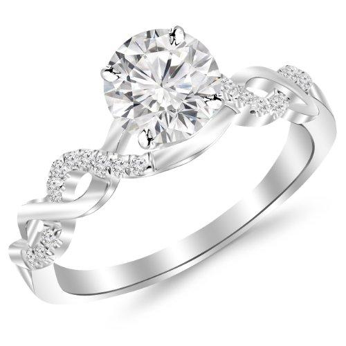 0.88 Carat Twisting Infinity Gold and Diamond Split Shank Pave Set Diamond Engagement Ring 14K White Gold with a 0.75 Carat I-J I2 Round Brilliant Cut/Shape Center