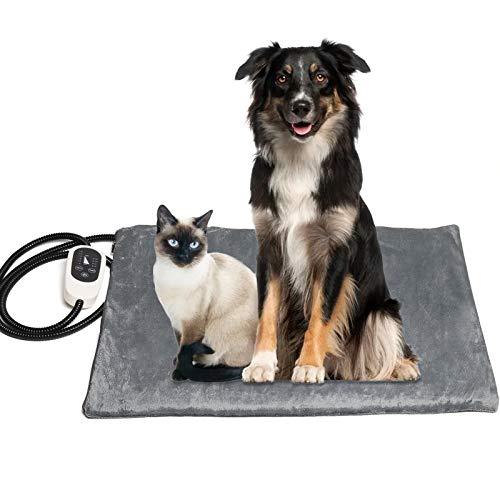 Coussin chauffant pour animaux de compagnie avec contrôleur, coussin chauffant étanche avec câble en acier à mâcher et housse en laine, adapté aux animaux de compagnie tels que les chats et les chiens