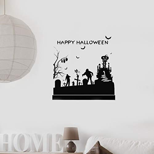 große Cartoonaufkleber Happy Halloween Large Castle Zombie Bat Ghost Cemetery Glass Decal Window Stickers Posters for living room