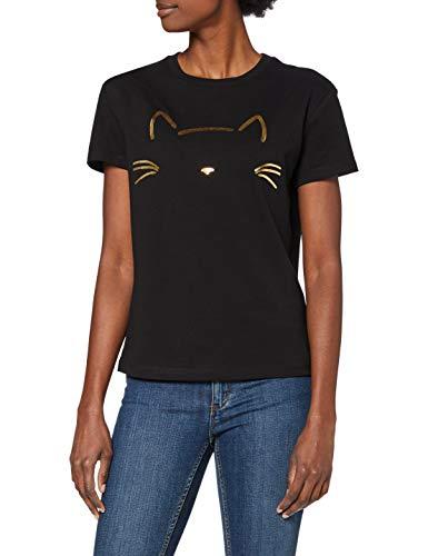 Mavi Damen Cat Printed Tee T Shirt, Schwarz, L EU