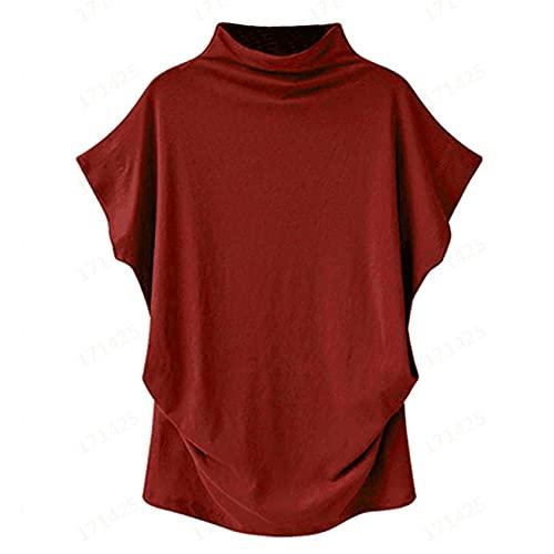 Camisa Holgada de Cuello Alto con Fondo para Mujer Camiseta Holgada de Media Manga de Color sólido para Mujer Hay una Variedad de Colores Disponibles