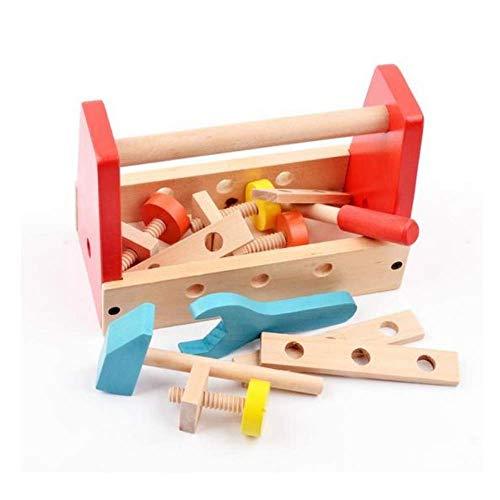 B&Julian® Werkzeugkasten Kinder Holz 16 TLG. mit Zubehöre Handwerker Set für Kinder ab 18 Monate