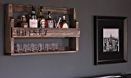 Dekorie Whisky Regal aus Holz - mit Gläserhalter und Whisky Schriftzug - Braun - Industrie Stil - fertig montiert - Wandbar - Whisky-Regal aus Holz