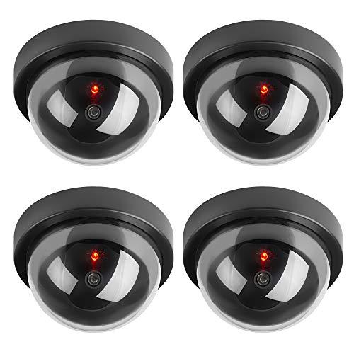 TOROTON 4 Pieza Cámara Falsa Dummy Cámara de Seguridad Falsa LED Parpadeante Sistema de Vigilancia Cámara Simulada CCTV
