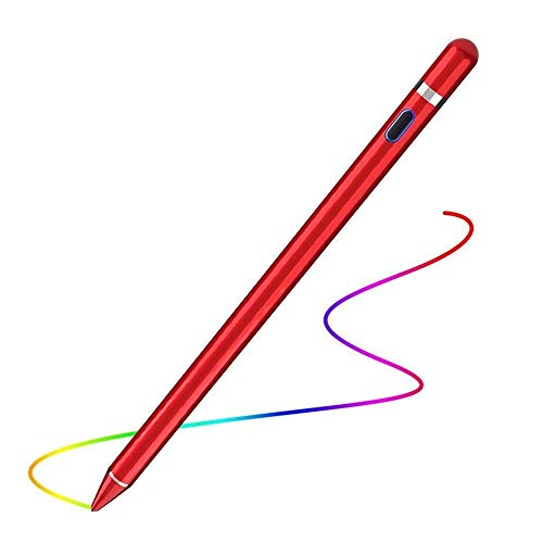 Active Stylus Compatible with Apple iPad, Stylus Pens for Touch Screens,Rechargeable Capacitive 1.5mm Fine Point with iPhone iPad and Other Tablets (Red)