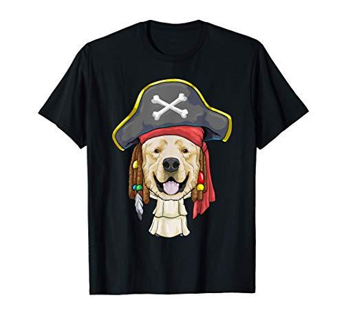 Cuentas del Caribe Golden Retriever Pirate Dog Halloween Camiseta