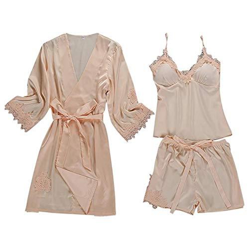 QVC Sexy Satin-Morgenmantel, Pyjama-Set, Spitze, Bademantel + Oberteil + Shorts, 3-teilig, Sommer, Frühling, Nachtwäsche für Damen, Nachtwäsche Gr. Large, beige
