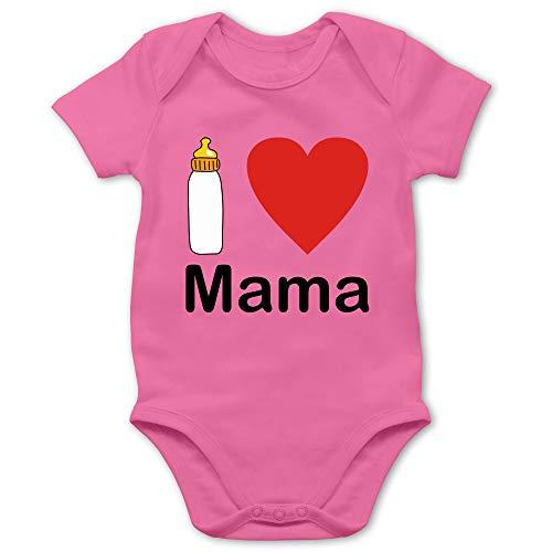 Shirtracer Strampler Motive - I Love Mama Nuckelflasche - 6/12 Monate - Pink - Piktogramm - BZ10 - Baby Body Kurzarm für Jungen und Mädchen