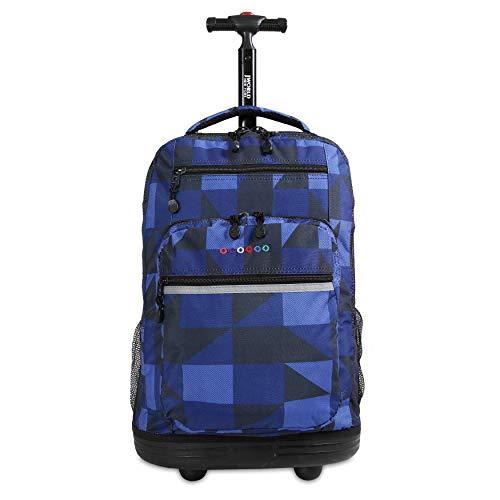 J World New York Rolling Backpack Girls Boys Roller Bookbag Wheels, Block Navy, One Size