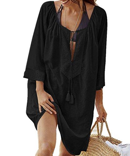 AiJump Donna Cotone Pizzo Pareo Tunica Copricostume Copribikini da Spiaggia Bikini Cover Up