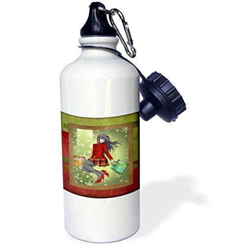 3dRose 7480_1 wb_31552_1 Water Bottle, Aluminum, Wh