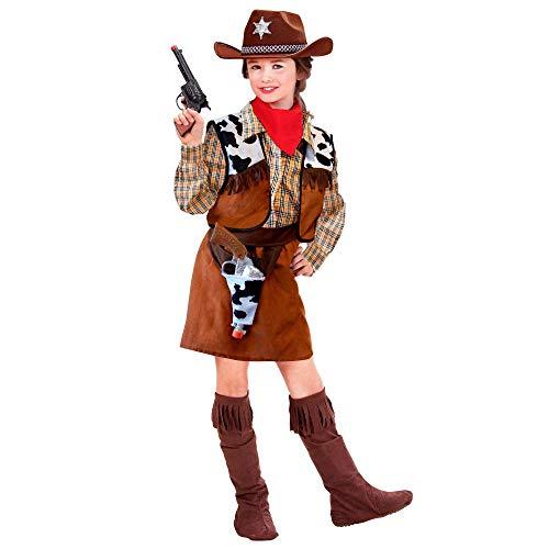 Widmann 36768 - Kinderkostüm Cowgirl, Hemd, Weste, Rock, Gürtel mit Holster, Überstiefel, Rinderhirtin, Fasching, Karneval, Mottoparty