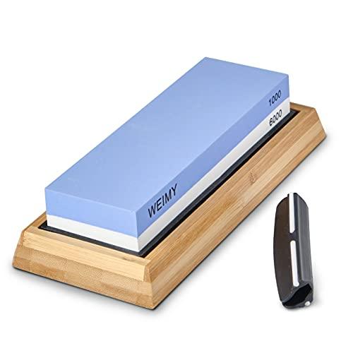 WEIMY Knife Sharpening Stone Kit, Professional Whetstone Sharpener Stone Set, Dual Grit 1000/6000 Water Stone,Non-slip Bamboo Base,Angle Guide (1000/6000)