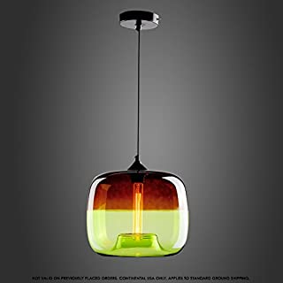 Baycher Creative Plating Ceiling Pendant Light Colorful Apples Shape Glass Lampshades Hanging Lamp Restaurant Lighting, Single Head Bar Chandelier,Clothing Store Cafe Lights (Color : Green)
