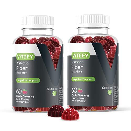 Fiber Prebiotic Sugar Free Gummies - Digestive Heath Regularity Support, Natural Weight Support, Vegan Dietary Supplement, Good for Adults Teens & Kids - Fruit Flavored Pectin Gummy [60 Count-2 Pack]