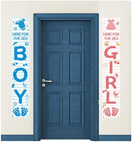 Boy and Girl Door Banners for Gender Reveal Party Hanging Decorations Here for The Sex Welcome product image