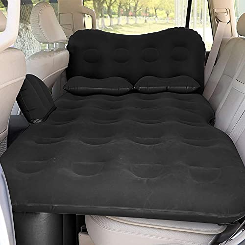 SAYGOGO Inflatable Car Air Mattress Travel Bed - Thickened Car Camping Bed Sleeping Pad with Electric Car Air Pump Flocking & PVC Surface Car Tent with 2 Pillows for SUV Sedan Pickup Back Seat (Black)