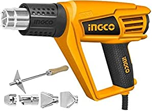 INGCO 2000 W Patented Metal Power and Hand Tools Heat Gun with Soft Rubber Grip and 6 Accessories (Black and Orange)