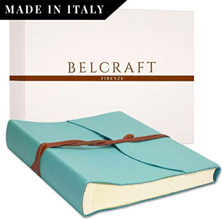 Capri Fotoalbum Leder, Handgearbeitet in klassischem italienischem Stil, Geschenkschachtel inklusive, A4 (23x30 cm) Aqua