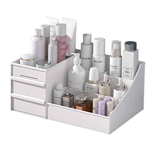 Cosmetic Storage Box, Makeup Organizer Cabinet/Drawer Type Vanity Organizer/Dormitory Desktop Sundries Storage Shelf (M, White)
