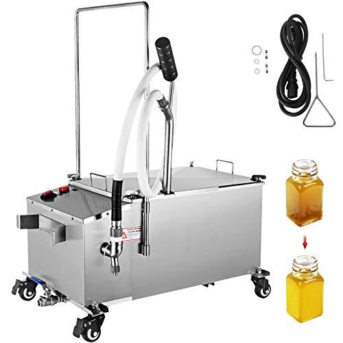 VEVOR 300W Mobile Fryer Filter 116LB Capacity Oil Filtration System 110V 60Hz Perfect for Supermarket Restaurant, 58L, Sliver
