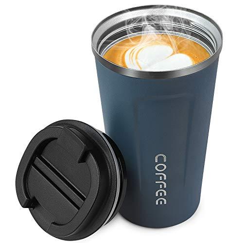 Matraz de Café, Taza de viaje de Acero Inoxidable a Prueba de Fugas, Taza de Café Aislada con Tapa Para Bebidas Frías y Calientes