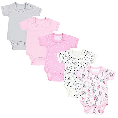 TupTam Mädchen Baby Body Kurzarm in Unifarben - 5er Pack, Farbe: Farbenmix 5, Größe: 80