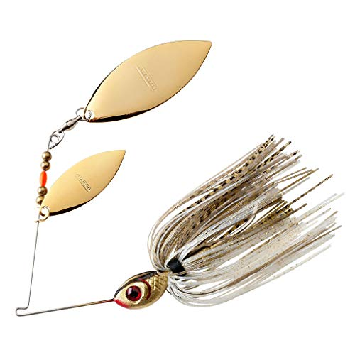BOOYAH Blade Spinner-Bait Bass Fishing Lure, Gold Shiner, Double Willow (1/2 oz)