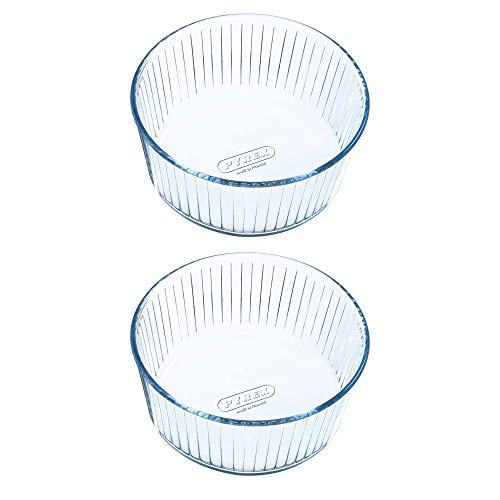 Pyrex Classic Bake & Enjoy Glass Souffle Dish 21cm 2.5 Litre Transparent (Pack of 2)