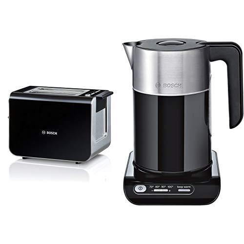Bosch TAT8613 Kompakt Toaster Styline / Edelstahl u. Kunststoff / für 2 Scheiben Toast / 860 Watt & Bosch TWK8613P Styline Wasserkocher