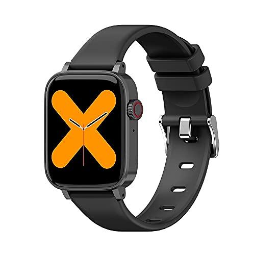 Reloj inteligente Jumaomaoyi con Bluetooth, llamada completa, frecuencia cardíaca saludable, presión arterial, deportes a prueba de agua (color: negro)