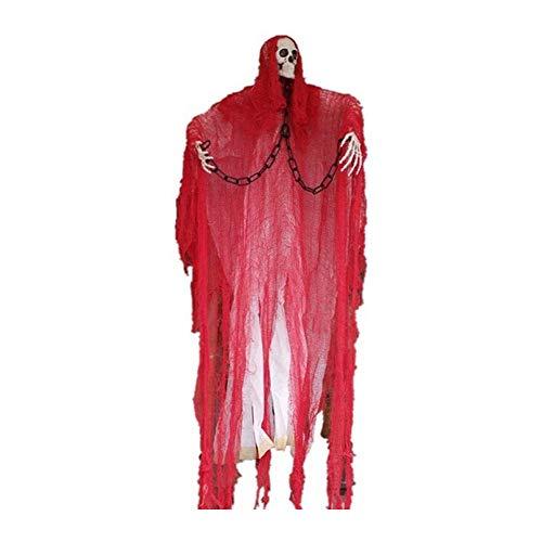 JuguHoovi Halloween Hängende Schreiende Geister Dekoration, 1.5m Horror Halloween Skelett mit Sprachaktivierte Lumineszenz, Animierter Sensenmann Tür oder Wandvorhang für Haunted House Prop Décor