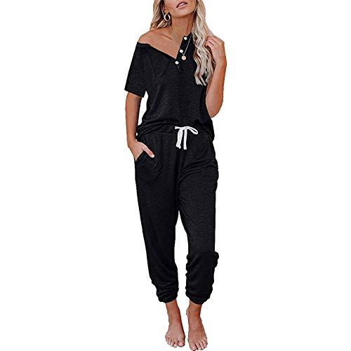 Loalirando Conjunto deportivo para mujer de verano, camiseta de manga corta + pantalones deportivos de cintura alta Negro L