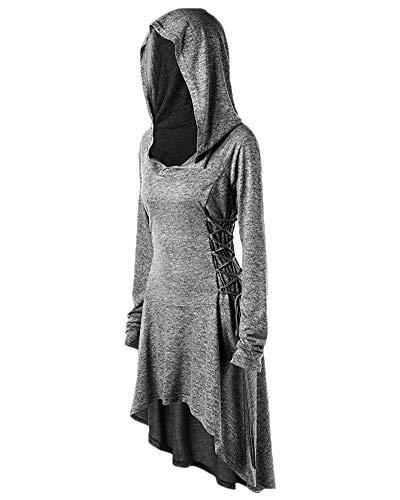 Preisvergleich Produktbild DianShaoA Frauen Tuxedo Gothic Frack Steampunk Mit Kapuze Viktorianischen Mantel Hochzeit Uniform Grau 2XL