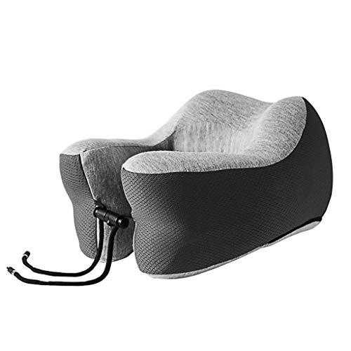 JQQJ Opblaasbaar nekkussen, voor vliegtuig, slapen, 100% traagschuim, verstelbaar, zwart (zwart) - 262166