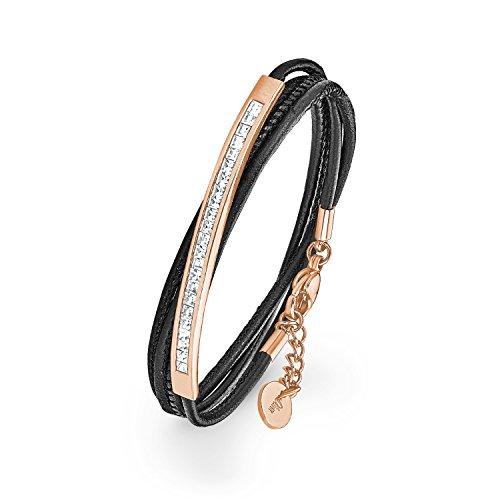 S.Oliver Damen Wickel Armband aus schwarzem Leder und Edelstahl IP Rosegold mit Kristallen von Swarovski in weiß