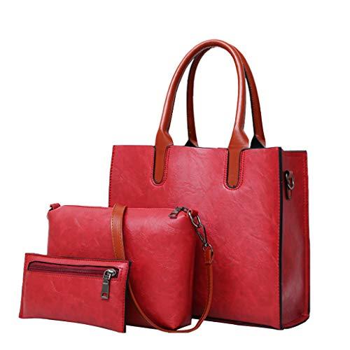 Shinehua leren handtas vrouwen schoudertas handtas schoudertas portemonnee kaarthouder tas dames groot designer elegante schoudertas hengseltas set 3-delige set Eén maat rood