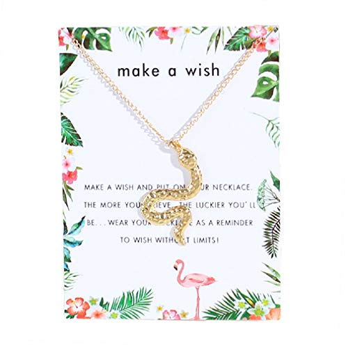 Clavicle Necklace Gold Snake Pendant Dangle Chain with Blessing Card for Costume Jewelry Favors, Trend All-Match for Girls and Ladies