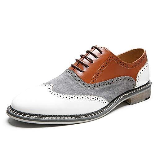 Best-choise Oxford Formales for los Zapatos de los Hombres de Negocios de Encaje hasta Piel de Microfibra en Punta del Dedo del pie Cosido Brogue Talla de Estilo Patchwork Burnished Llamativo