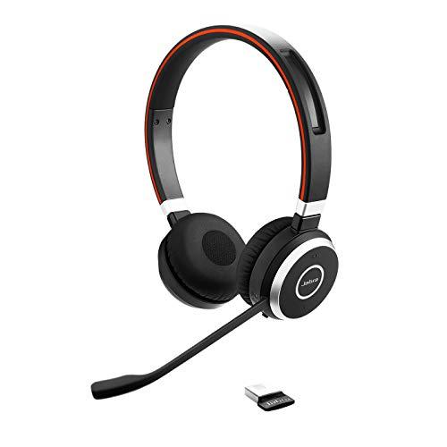 Jabra Evolve 65 UC - Auriculares Inalámbricos Estéreo Optimizados para Comunicaciones Unificadas con Batería de Larga Duración - Adaptador Bluetooth USB - Negro