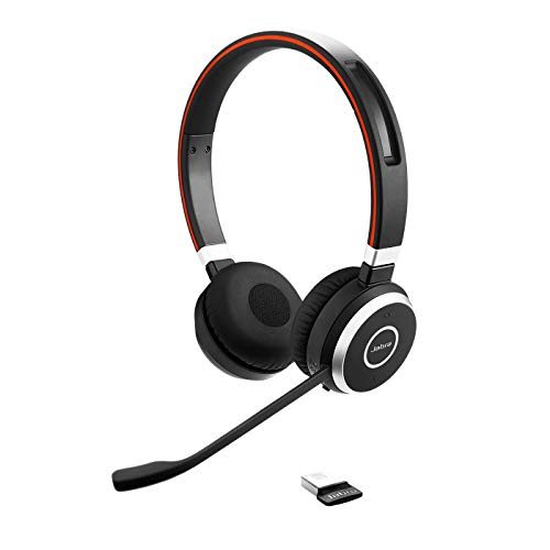 Jabra Evolve 65 Wireless Stereo On-Ear Headset – Unified Communications zertifizierte Kopfhörer mit langer Akkulaufzeit – USB Bluetooth Adapter – Schwarz