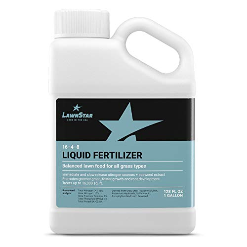 Balanced 16-4-8 Nutrient Liquid Fertilizer (1 Gallon) - Premium Lawn Food, NPK with Added Seaweed Extract, Treats Common Deficiencies, Safe for All Grass Types