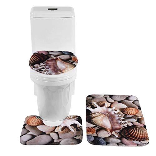 Cuarto de baño Ware Toilet Mat 3D de Tres Piezas en Forma de U Cubierta de impresión de Franela Antideslizante Absorbent Ornamental Cozy Washable Memory Foam Floor Rug(#1)