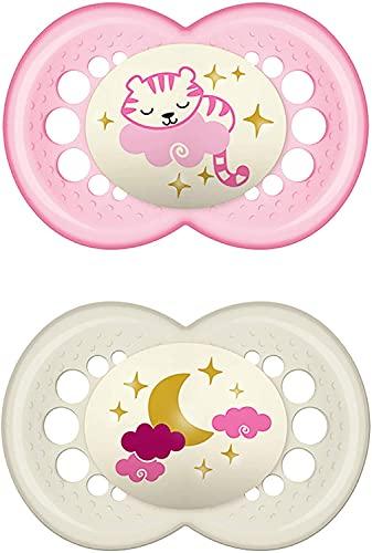 MAM Juego de 2 chupetes de látex Night para bebés, con diseño de tigre y luna, 6 a 16 meses