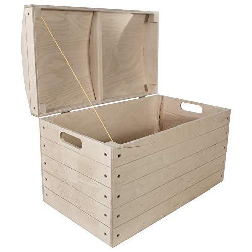 Extra Large Wooden Treasure Chest Storage Box | 56.5 x 33.5 x 36.5 cm | Toy Tool Pirate Kids Bedroom Rounded Hinged Lid Trunk | Unpainted & Unfinished Plain Decorative Wood for Craft DIY