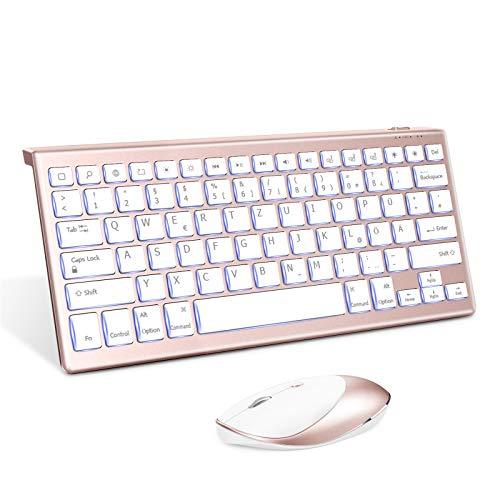 Jelly Comb Beleuchtete Bluetooth Tastatur Maus Set für Neues iPad Pro 2020/iPad 2019 10,2, iPad 9.7, iPad 8/7/6 Gen, iPad Pro 10.5/11/12.9 2018/2020, iPad Air 10,9