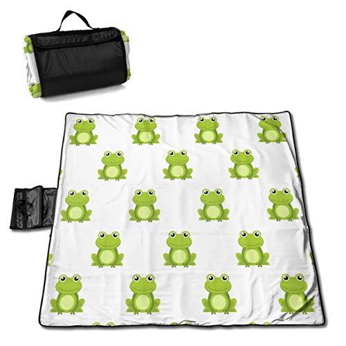 Nahtloses Muster, niedlicher grüner Frosch-Cartoon-Figur, isoliert auf weißem Hintergrund, Picknickdecke, waschbar, faltbar, wasserdicht, für Picknick, Camping, Strand, große Größe 144,8 x 149,9 cm