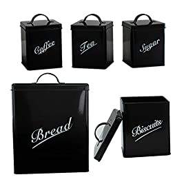 5 Piece Metal Bread Bin Tea Coffee Sugar Biscuit Canister Containers Storage Tin (Cream)