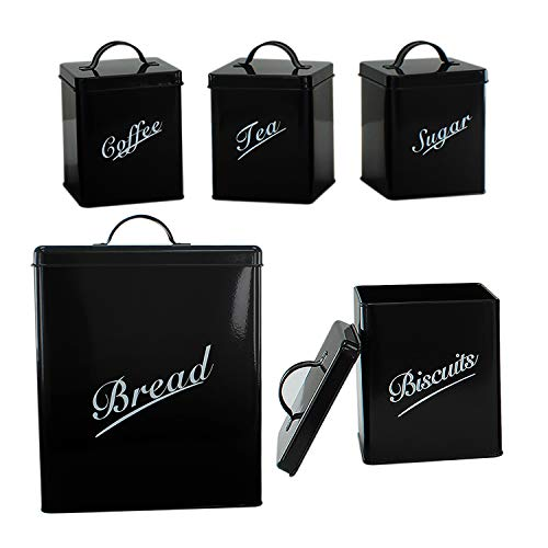 5 Piece Metal Bread Bin Tea Coffee Sugar Biscuit Canister Containers Storage Tin (Black)